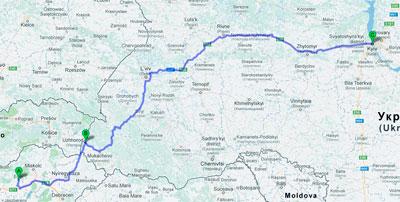 trasa Eger - Kiev